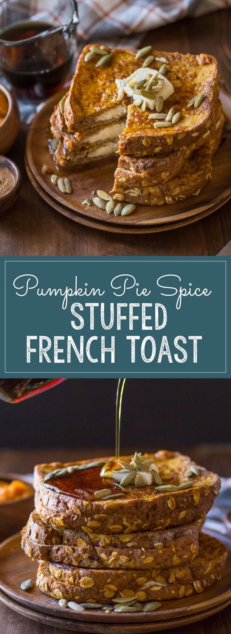 Pumpkin Pie Spiced Stuffed French Toast - Perfect for extra special holiday breakfasts, or slow weekend mornings that deserve something extra delicious!