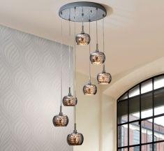 Lampade a sospensione di acciaio con led : collezione ARIAN  7 luci