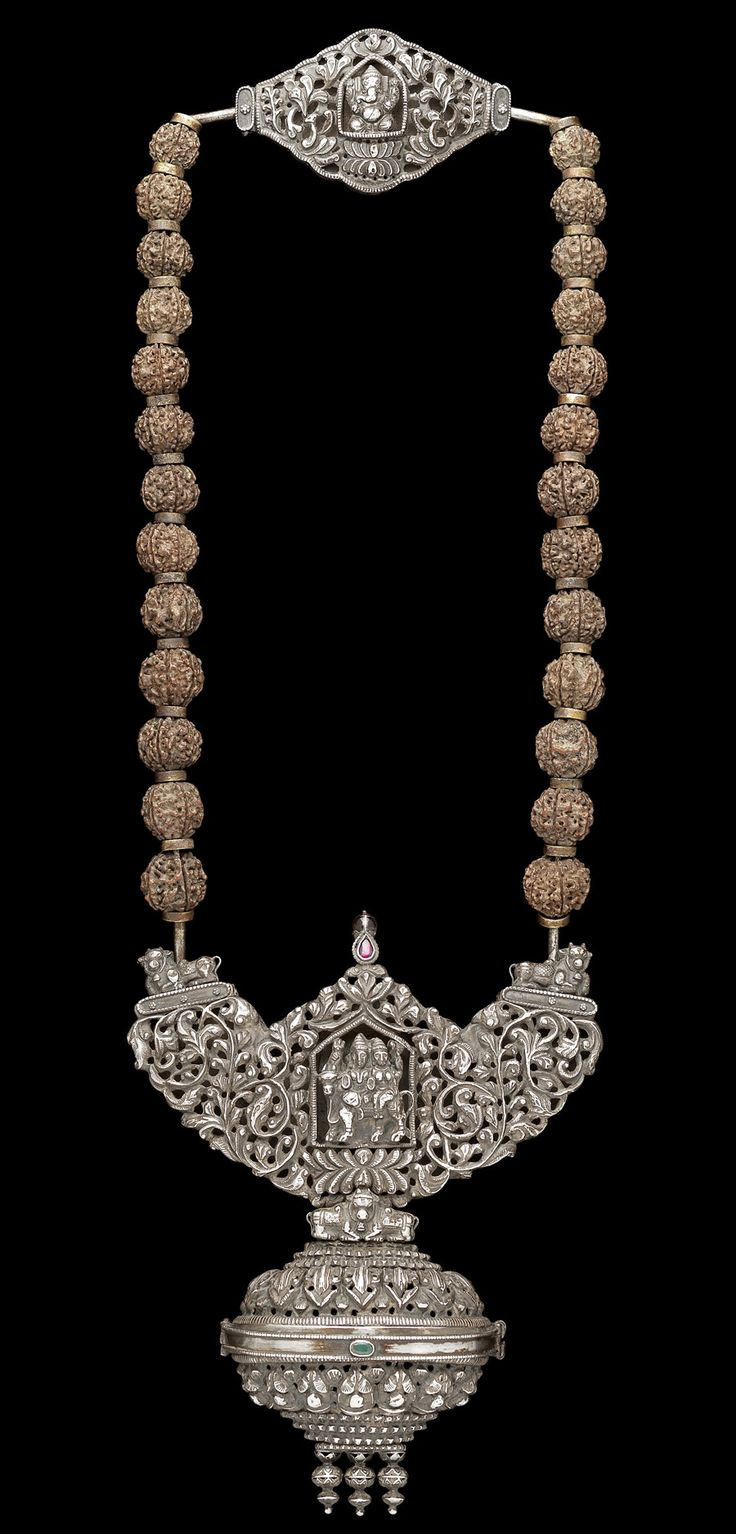 India | Wrought necklace; one of the 28 pieces that Bonhams is about to sell ~ an inspiring array of Indian Temple Jewellery from the 17th, 18th, and 19th centuries, all from one impressive private collection. Each of the 28 pieces were used to ornament the Hindu gods. As tributes to the deities, these works of art are beautifully made of gold, diamonds and rubies combined with centuries old Indian craftsmanship.