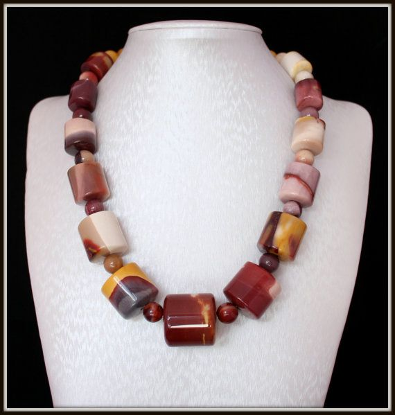 Mookaite Necklace Chunky 47 cm Lobster clasp by Fagiano on Etsy, $55.00