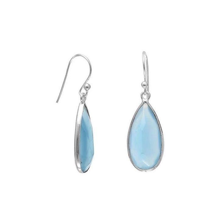 Zilveren Oorbellen met gefacetteerde blauwe Chalcedoon