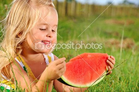 Young kid with watermelon outdoors — Stock Image #11490421