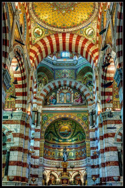 Notre dame de la garde - Marseille, France...I have been inside this beautiful place...wonderful tile details