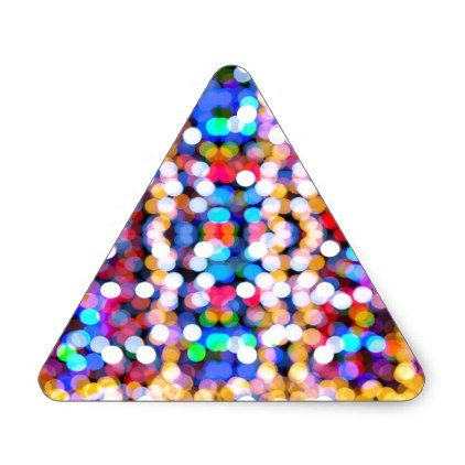 Colourful Bokeh Blurred Light Abstract Pattern Triangle Sticker - christmas stickers xmas eve custom holiday merry christmas