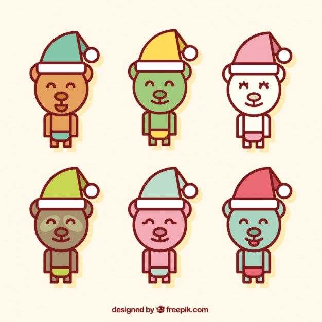 Free vector Cute christmas bears #33890