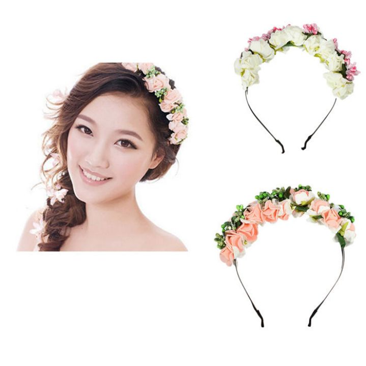 Amazing Korean Style Women Hairbands Flower Floral Bridal Hair Accessories Bride Hair Wreath Wedding Ornaments