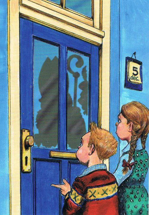 Daar wordt op de deur geklopt, postkaart van Jean Gouder