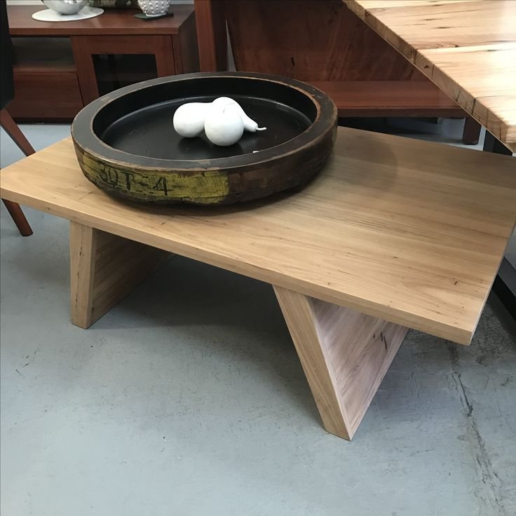 Retro base coffee table in Blackbutt with the natural raw look finish by Wildwood Designs, available now at our Stanmore store.