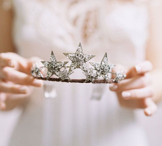 Bridal star tiara rhinestone bridal crown  door EricaElizabethDesign, $345.00