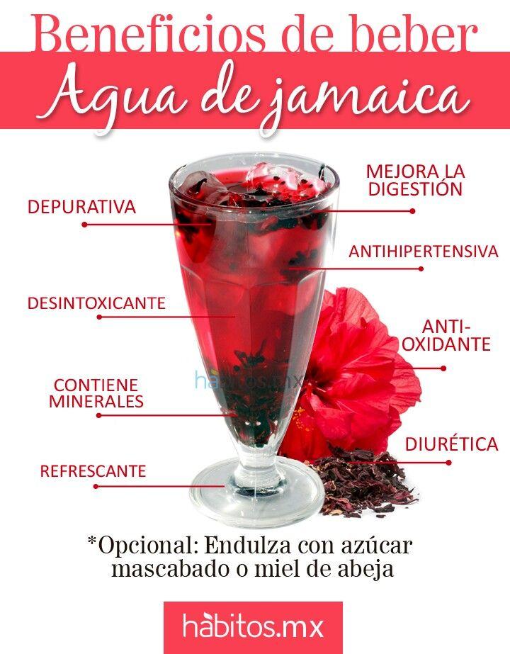 Beneficios del Agua de Jamaica ..fuente: habitos.mx