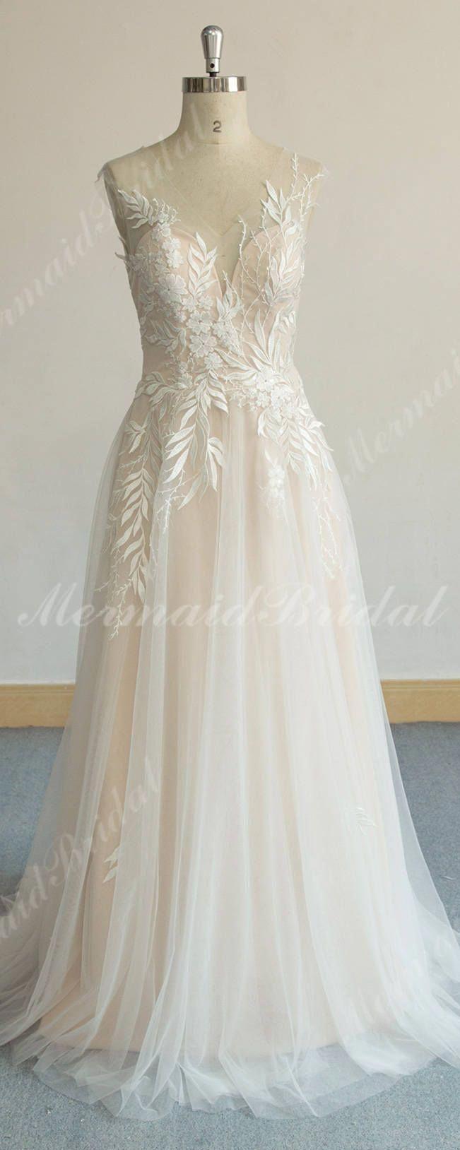 Diy wedding decorations vintage october 2018 Unique Aline Tulle Lace Wedding Dress Elegant Vintage Boho Wedding