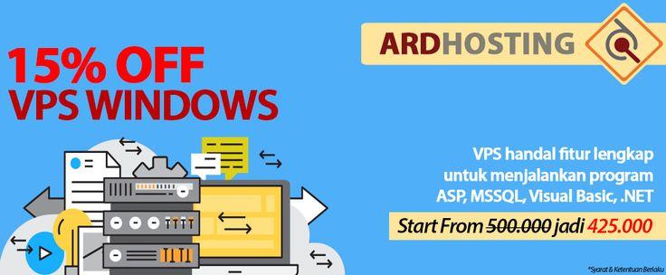 Ardhosting memberikan diskon menarik untuk anda pengembang web dan aplikasi berbasis windows server. Dapatkan keunggulan performa windows server terbaik milik Ardhosting dan potongan diskon 15% untuk paket VPS Windows.Info lebih lanjut hubungi: sales@ardhosting.com (email) 021-538-4395 ext 106 (phone)