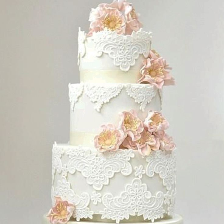 What kind of cake will you be having on your big day? 🌸 A simple elegant Wedding cake with beautiful Lace detail🌸 www.wed2b.co.uk