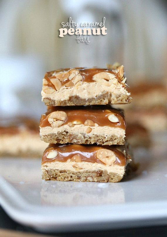 Salty Caramel Peanut Bars... SUPER delicious salty/sweet bars!