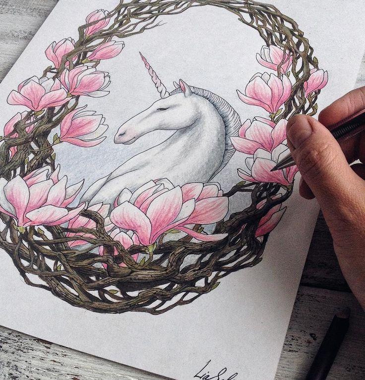 #magnolia #unicorn #spring #pink #flowers #fairytale #drawing #process #wip #Instagraminrussia #instagramrussia #unicorn #spring #art #myart #pencils #colorpencils #Рисунок #единорог #магнолия #liaselinaartforsale