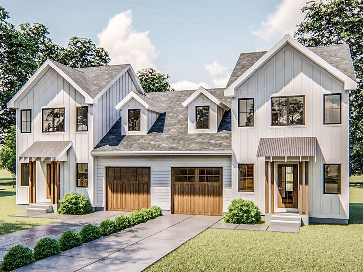 050m 0021 Multi Family House Plan House Porch Design Backyard House Family House Plans