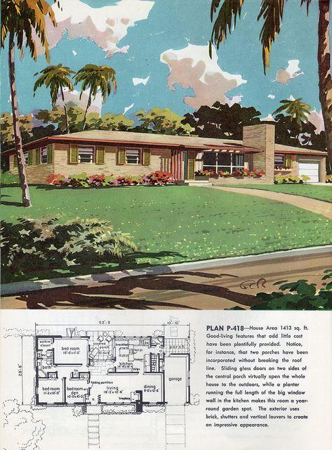 Best 25 vintage house plans ideas on pinterest bungalow for 1960s ranch house plans
