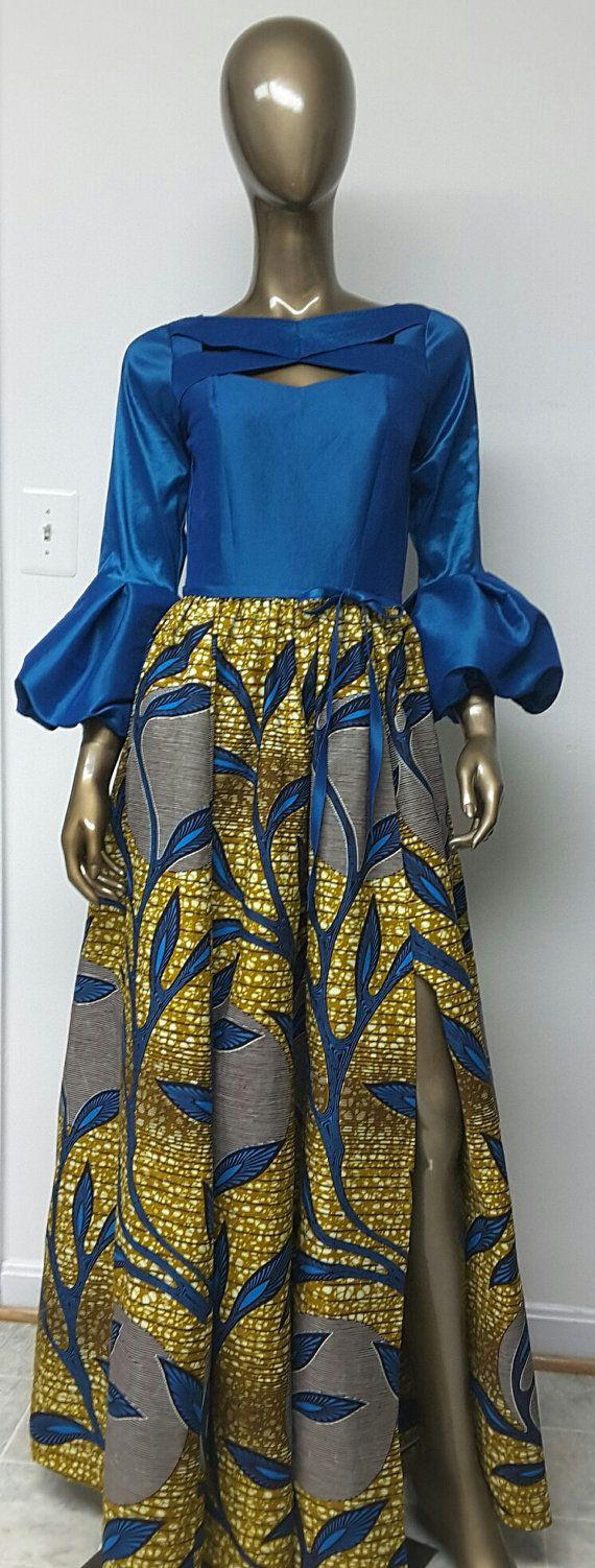 African Print Maxi Dress. Inside Pockets. by NanayahStudio on Etsy