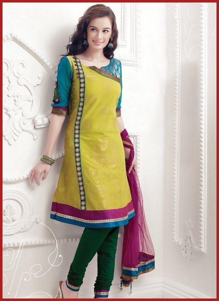 Yellow Cotton Jacquard Churidar Suit #CottonSuitDesigns #CottonSuitNeckDesign
