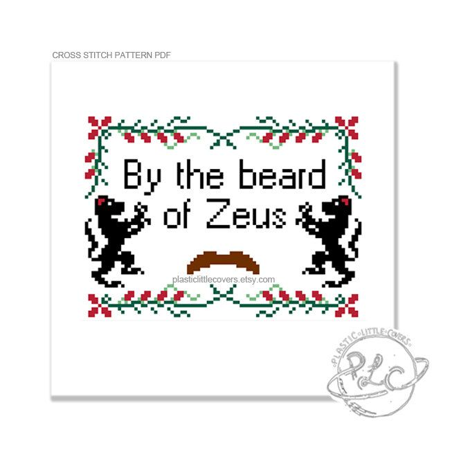 By the beard of Zeus. Anchorman Ron Burgundy Quote Cross Stitch Pattern. Digital Download PDF. by plasticlittlecovers on Etsy https://www.etsy.com/listing/156242913/by-the-beard-of-zeus-anchorman-ron