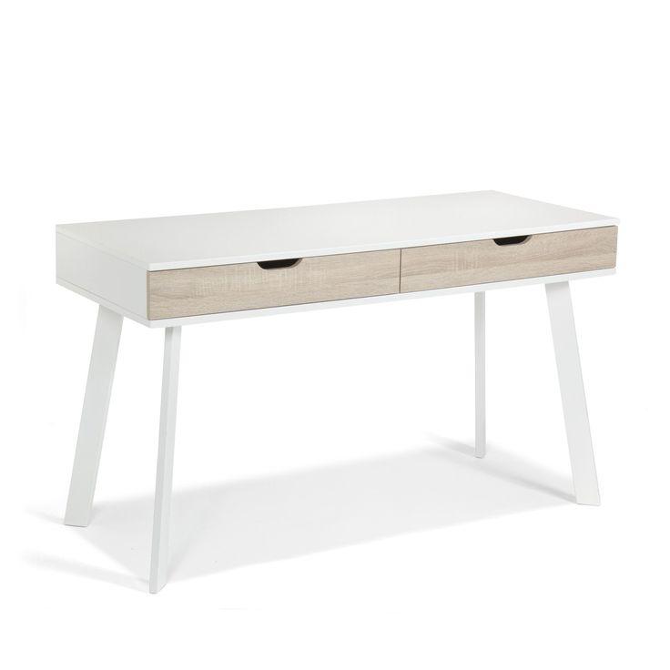 Bureau à tiroirs style scandinave Blanc / naturel - Aquila - Les bureaux adultes - Les bureaux - Bureau - Décoration d'intérieur - #AlineaPE2014