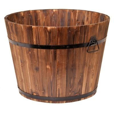23 in. Dia x 17 in. H Brown Cedar Wood Round Large Garden Planter Whiskey Barrel-DEVBP213S - The Home Depot