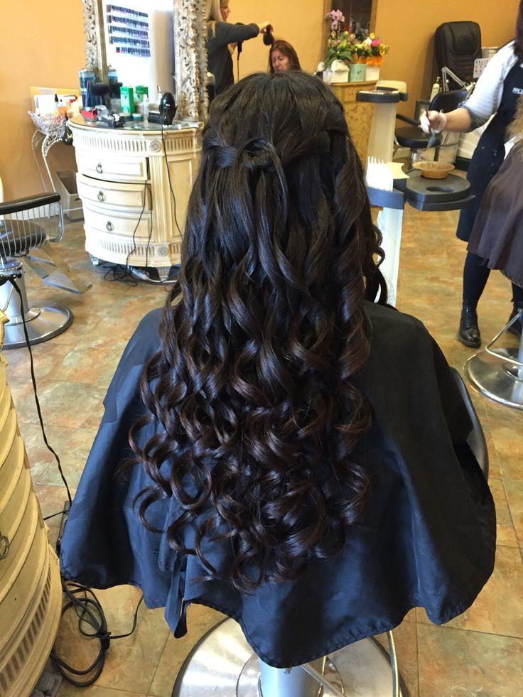 Hair half up half down waterfall braid ! #curls #halfup #salondebeaute