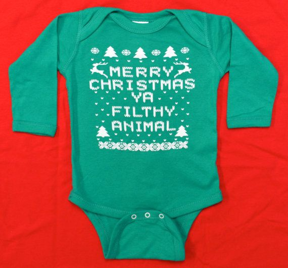 Baby Long Sleeve Onesie (Bodysuit): GREEN Merry Christmas Ya Filthy Animal Ugly Sweater Contest All Sizes Newborn-6 mth-12 mth-18 mth