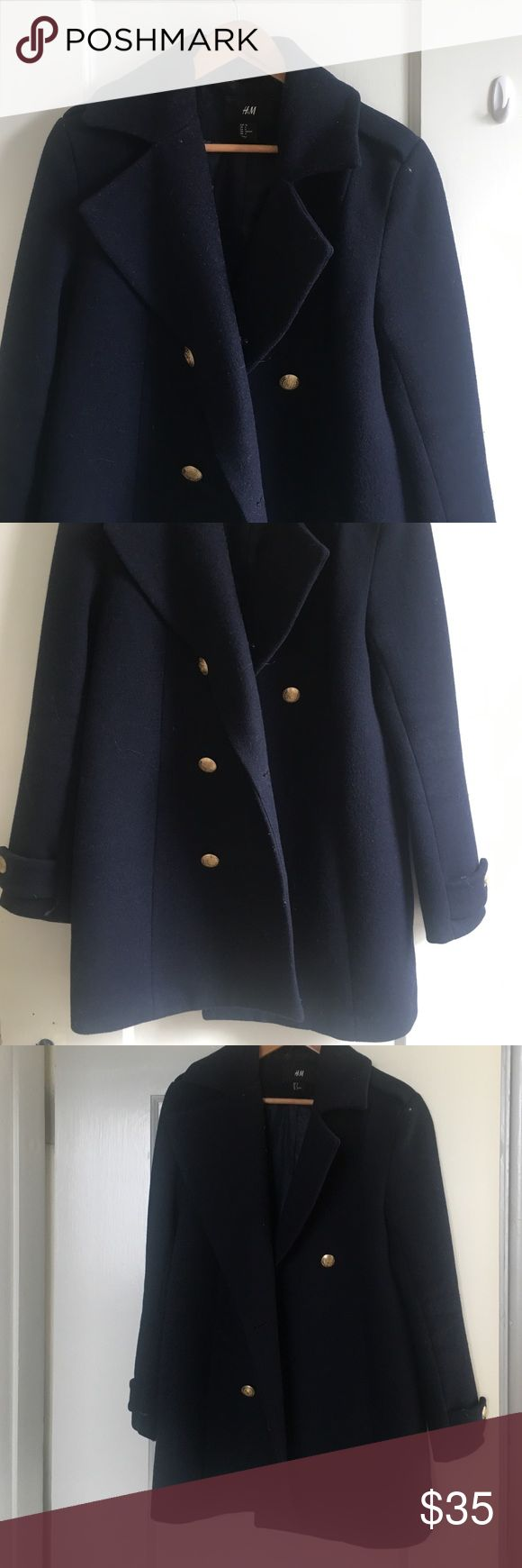 H&M coat Dark blue H&M coat made with 59% wool. One button is missing H&M Jackets & Coats