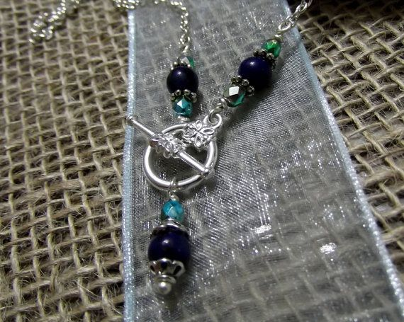 Blue Lapis Lazuli and peacock green crystals by LifeStoneJewelry, $18.00