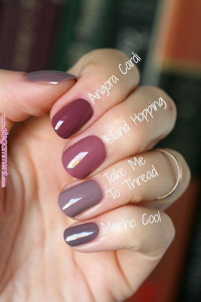 Essie Mauve-Vergleich: Merino Cool, Angora Cardi, Island Hopping und Take Me To Thread – Nails :)