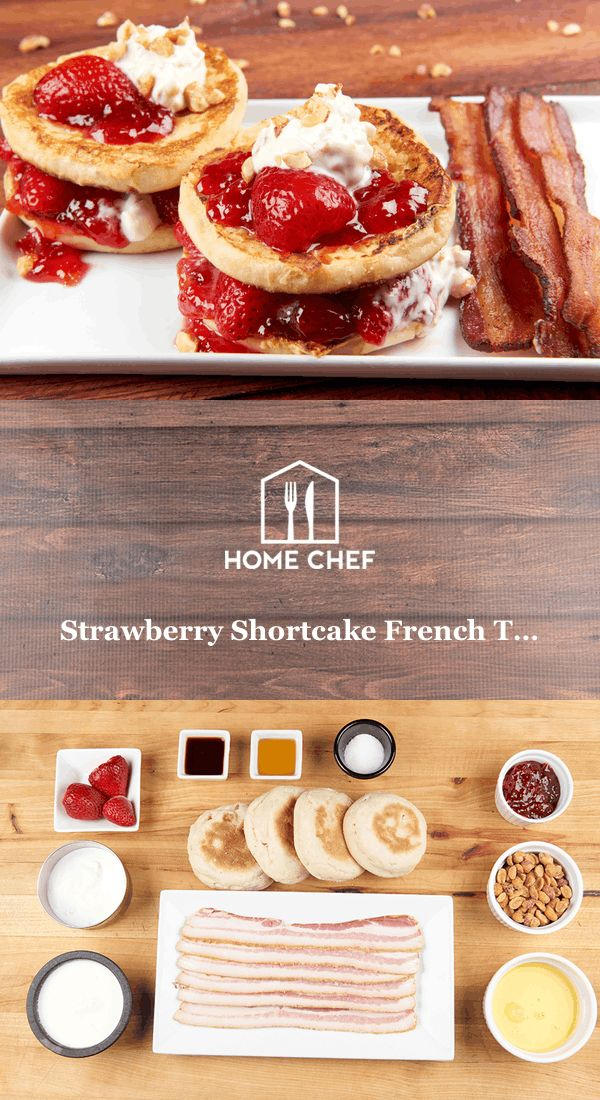 Strawberry Shortcake French Toast With Bacon, Strawberry, Honey, and Roasted Peanut Topping