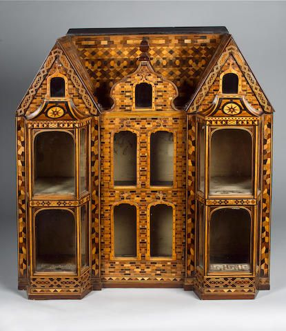 A fine and impressive wooden Parquetry Dolls House/Cabinet, 1860s-80s