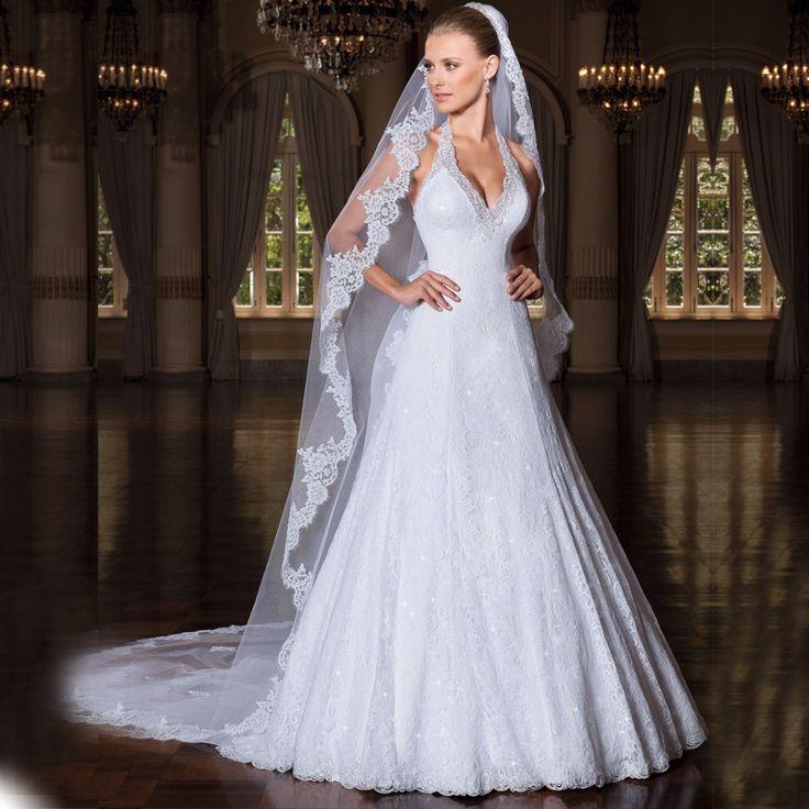 Свадебные платья фото за шею