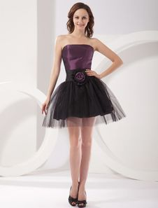 Special Occasions Modern Purple Strapless A-line Taffeta Womens Homecoming Dress