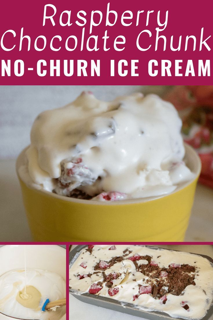Raspberry Chocolate Chunk No Churn Ice Cream Combines Two Amazing Flavors In One Quick And Simple Recipe Delic Dessert Recipes Easy No Churn Ice Cream Recipes