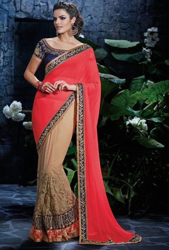 Beige,pink and blue designer party wear saree