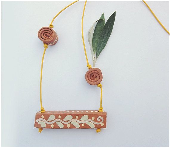 Athena Terracotta necklaceFREE SHIPPING by IoannasVeryCHic on Etsy,