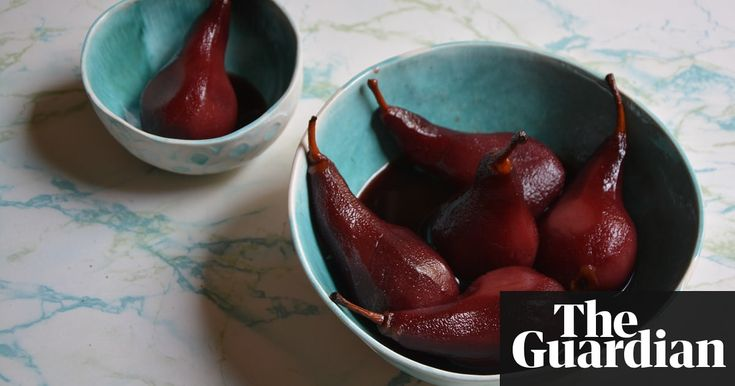 Pears poached in red wine.