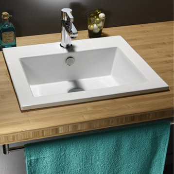 Vasque à encastrer Keo en porcelaine, blanc | Leroy Merlin 55 TTC