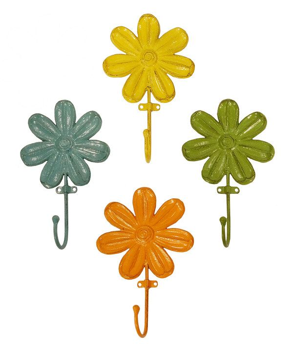 look at this metal flower hook set on zulily today