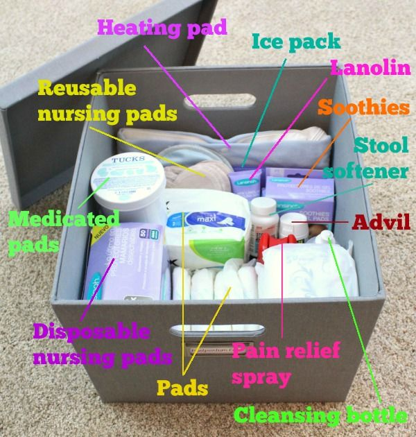 Postpartum essentials: Read this article for a great list of which postpartum supplies to stock up on before you have your baby, and which supplies to nab at the hospital. Great for organizing your own postpartum recovery care kit!