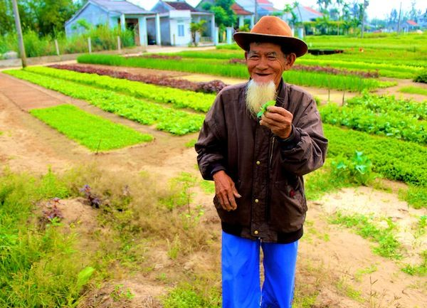 A herb farmer offers us some of his produce in Hoi Ann Vietnam.