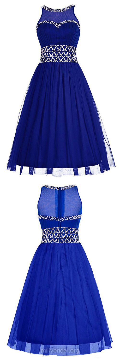 Beading Royal Blue Prom Dresses, Cheap Girls Homecoming Dresses,Original A-line Scoop Neck Party Gowns,Tulle Knee-length Cocktail Dress