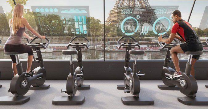 Carlo Ratti Associati's Paris Navigating Gym concept, data screens #gym #fitness #exercise #workout