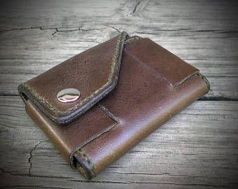Horween Chromexcel cuero cartera minimalista, pequeño Hipster monedero, bolsa cartera, cartera de dinero en efectivo, complemento carpeta, carpeta de la tarjeta de crédito, de los hombres