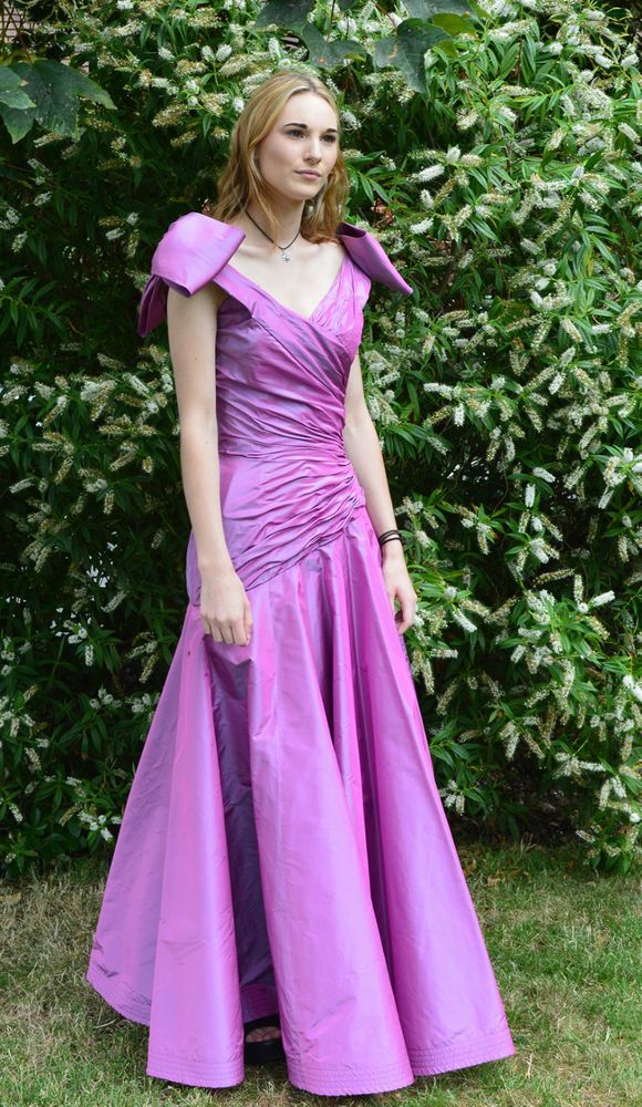 Beautiful Murray Arbeid Cerise Silk Taffeta Evening Dress / Gown