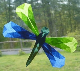 Folded Paper Dragonflies