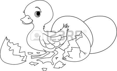 Pasen eendje springen uit gebroken ei. Kleurplaat