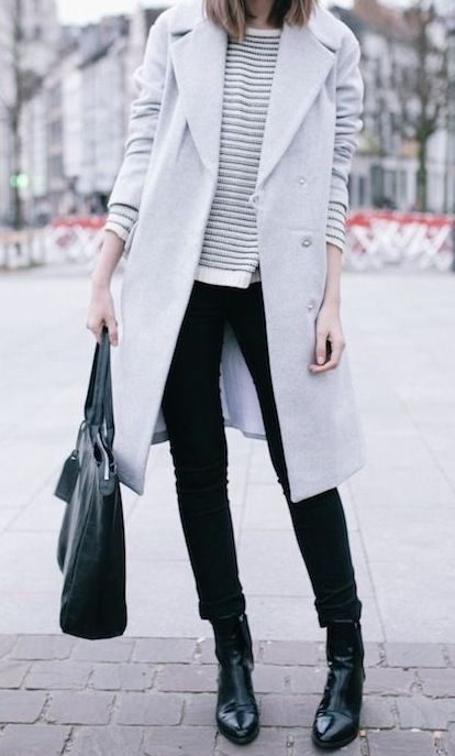 winter uniform - grey coat, black skinnies, black boots, sweater, black bag